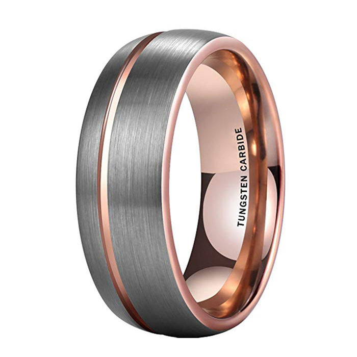 Latest New Domed Brush Tungsten Ring Carbide Two Tone Rose Gold Inside