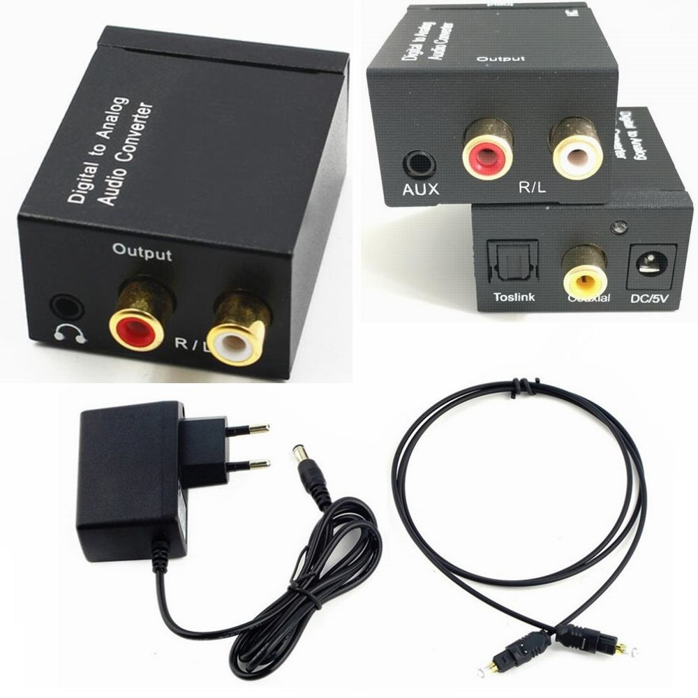3.5MM Optical Coaxial Digital to Analog Audio Converter DAC Digital SPDIF Toslink to Analog Stereo Audio L/R Adapter