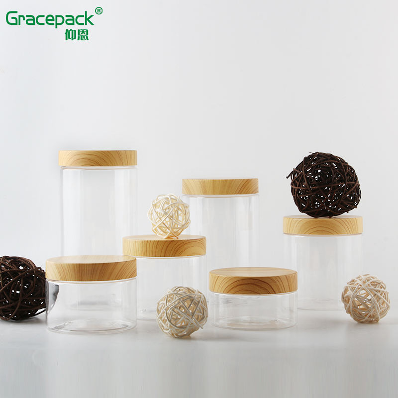Food Grade Ice Cream Wide Mouthed Jar with aluminum cap, PET Jars With Bamboo wooden Printing PP lid,Clear Plastic Jar