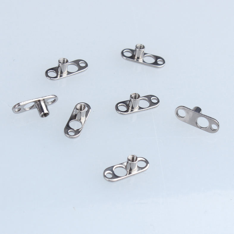 Dermal Anchor [ Jewelry ] 14G High Polish Titanium Microdermal Anchor Body Jewelry With 2mm Rise Unique 3-Hole Base