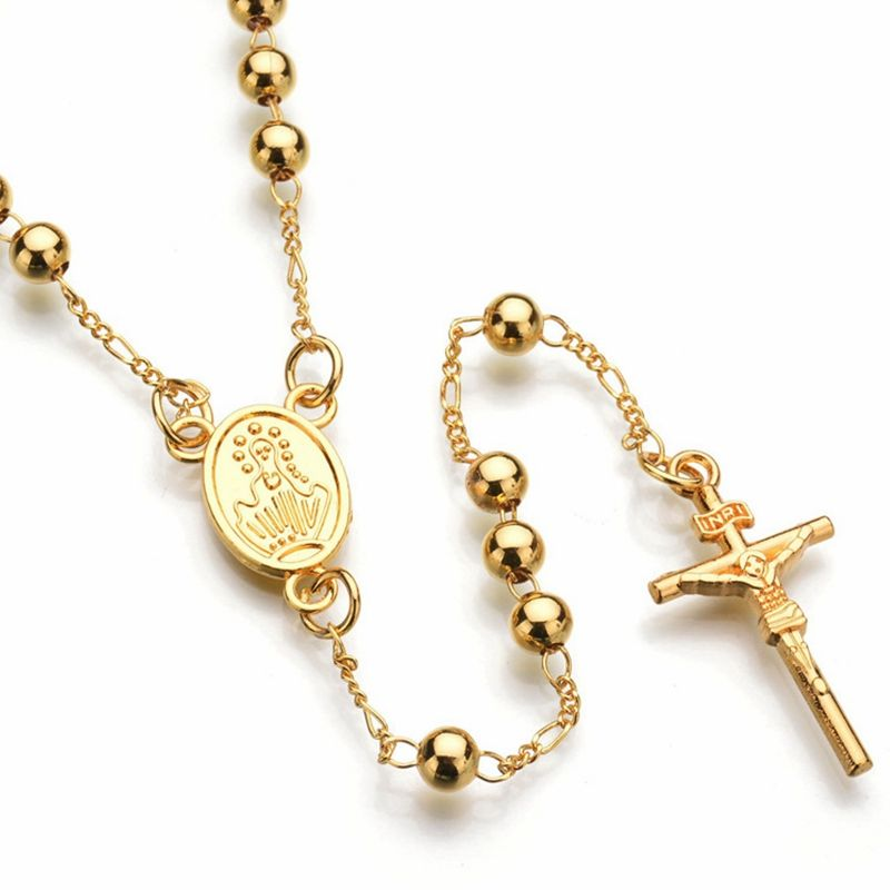 Wholesale Fashion Religious Jewelry Necklace 18k Gold Plated Jesus On Cross Pendant Hiphop Rosary Necklace