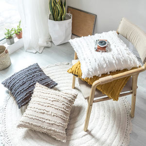 Monad Boho Macrame Ethnic Knit Tassel Solid Cotton Embroidered Cushion Cover For Sofa