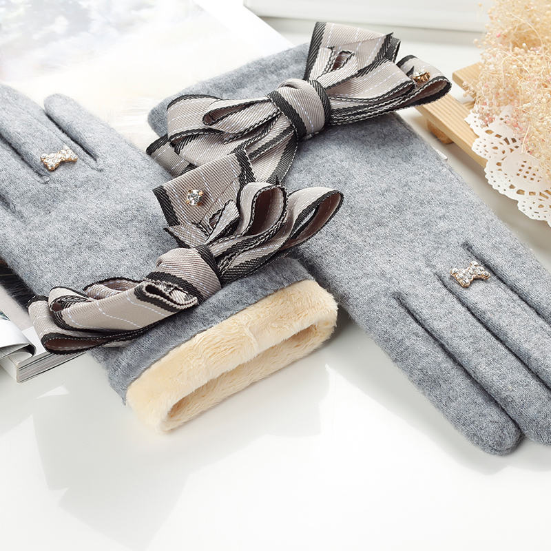 Cashmere Glove Wholesale Ladies Phone Touch Knitted Cashmere Thicken Gloves