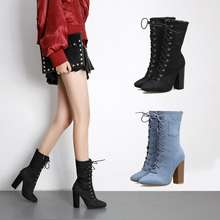 X63692A Autumn Winter Pointed Toe Lace Up Women Ankle Short Boots