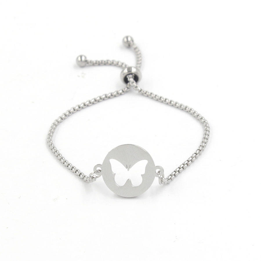 Mirror Polished Box Chain Angel Heart Butterfly Trendy Jewelry Gift Stainless Steel Ajustable Bracelet