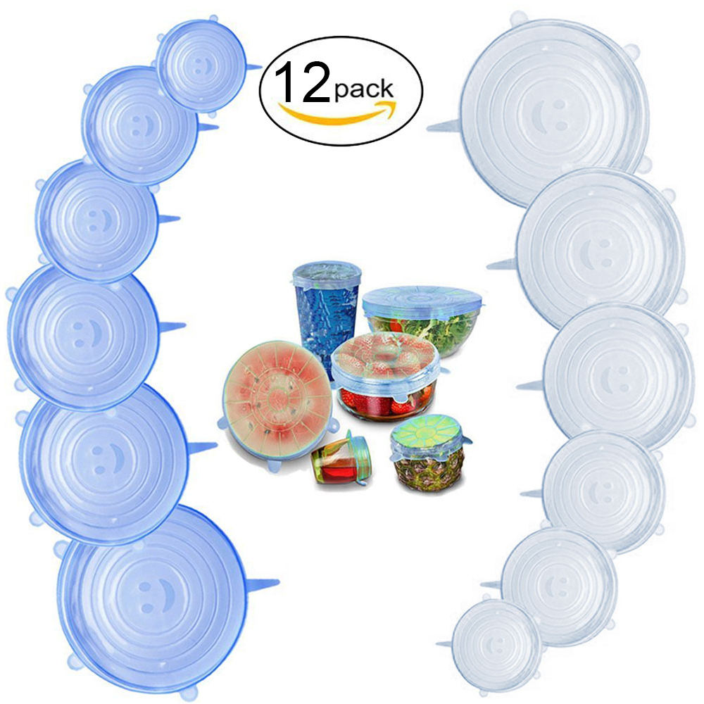 Amazon Hot Selling 12- Pack of Reusable Food Grade Silicone Stretch Lids
