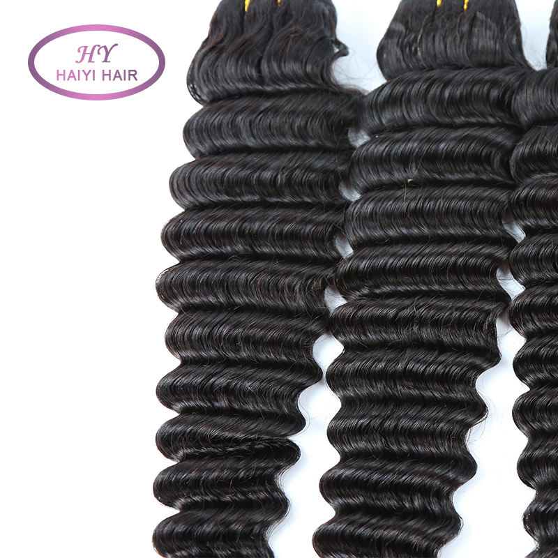Double Sewn human hair cuticle aligned Brazilian hair for Deep wave