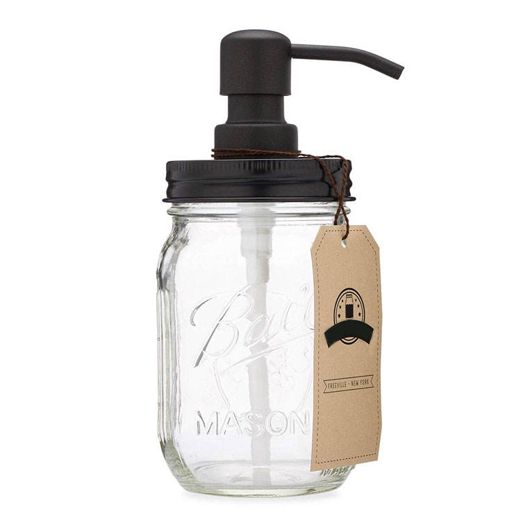 Amazon Hot Sale 16 ounce Bathroom And Kitchen Liquid Mason Jar Glass Hand Soap Dispenser