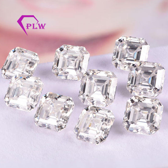 wholesale price customized VVS synthetic diamond stones asscher loose moissanite