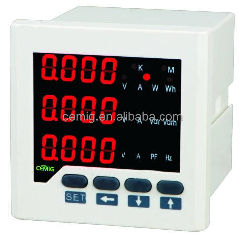 LED digital tube display 72*72mm current voltage power energy Hz 3 phase digital multi function network power meter E series