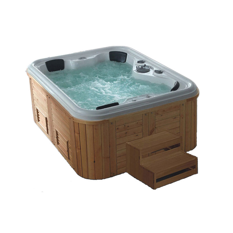 Outdoor frestading hot Whirlpool Bath tube big SPA with Jets wooden bathtub computer controlled massage bathtub