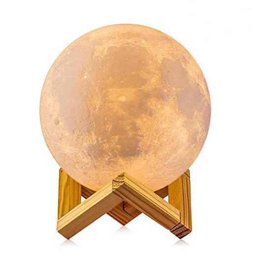 Amazon Hot Sales Touch Control Dimmable Two Colour Moon Lamp Usb Rechargeable Lunar Led Night Light with Stand for Baby Bedrooms