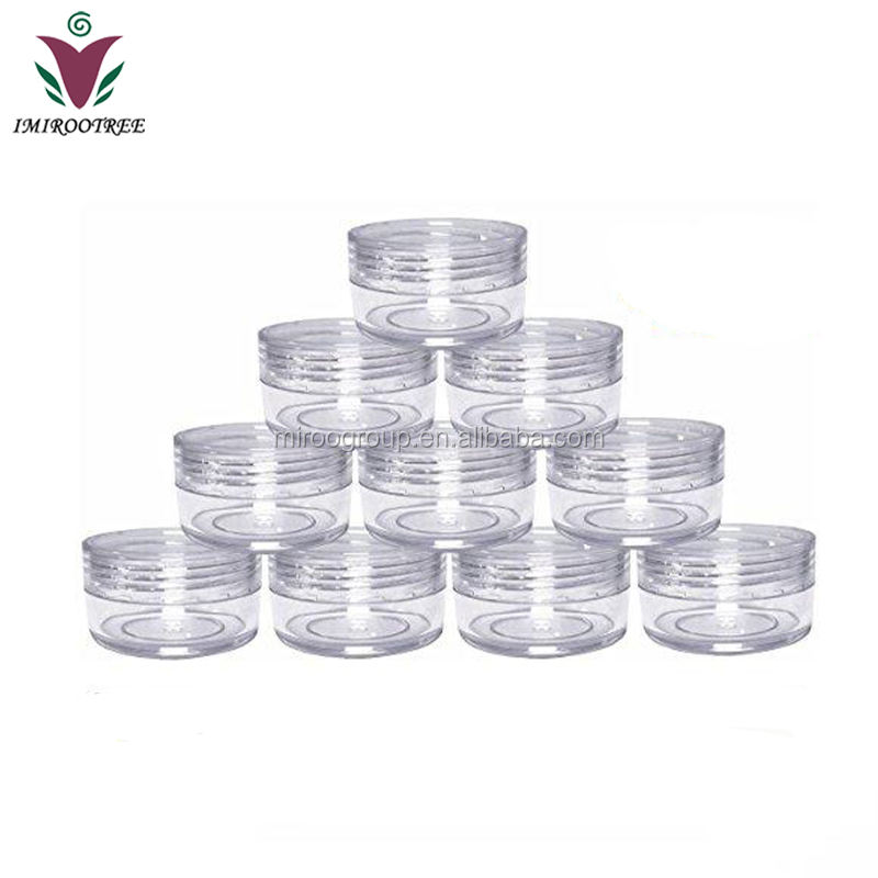 3g 5g 10g 15g 20g Plastic PS Clear Transparent Cream Pot Jar Cosmetic Lip Balm Container with clear Lids