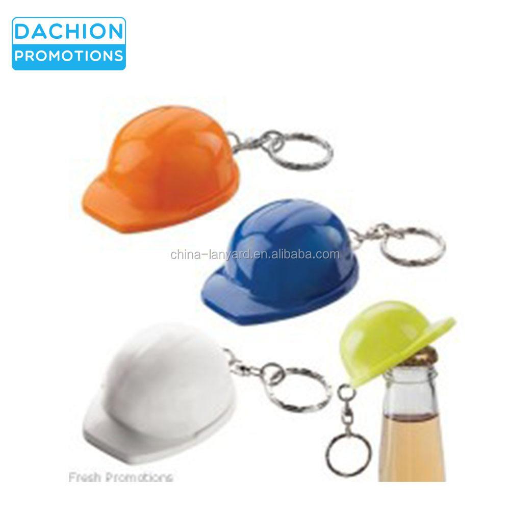 Novelty Dark Salmon Hard Hat Construction Keyring