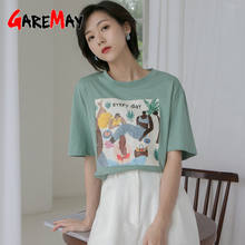Short Sleeve White t-Shirt Female Cotton O-Neck Funny Vintage Korean Style Print Tee Shirt Femme Summer Tops Women's T Shirts