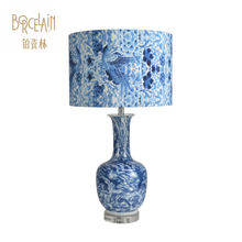 Hot products luxury modern porcelain blue and white ceramic led desk lamp for hotel