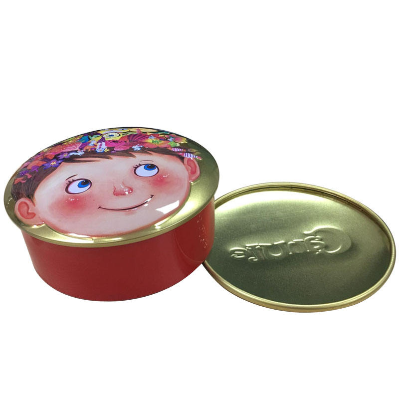 Round Shape Gift Tin Box Custom Made Cookies Tin Cans