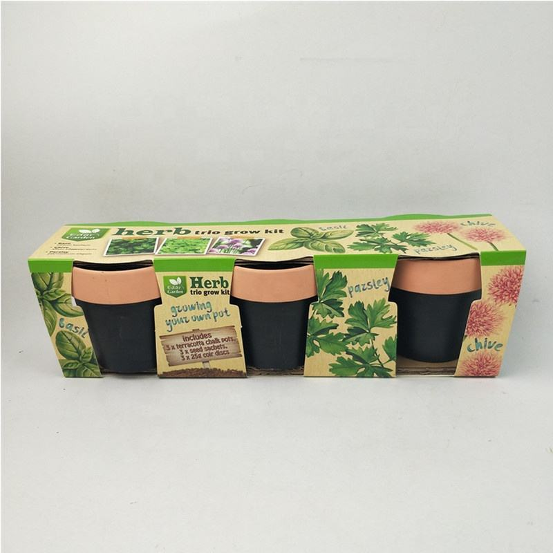Terracotta Chalk Pots with Coco Coir Pellets and Seeds Mini Terracotta Pots Grow kit
