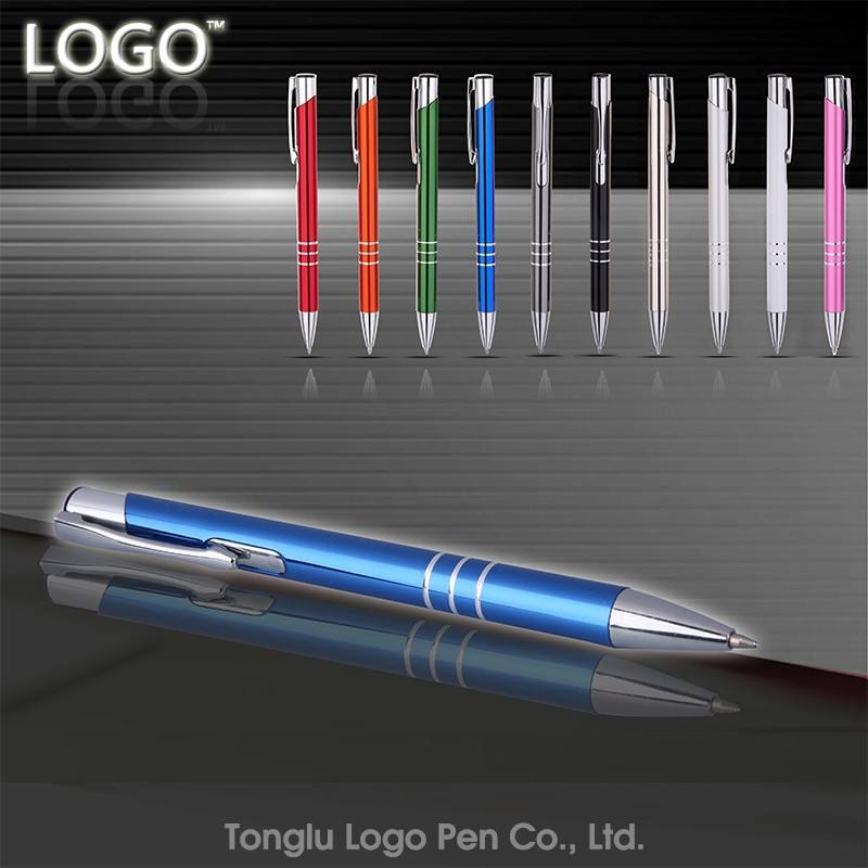 China professional manufacture luxury metallic promotional ball pen colorful metal ballpoint custom pen with logo pen