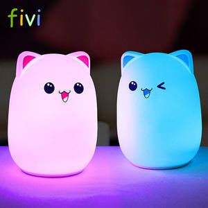 Creative Cute Bear LED Children Kids Baby Night Light Lamp Multicolor Silicone Soft Nursery Sensitive Tap Control Bedside Lamp