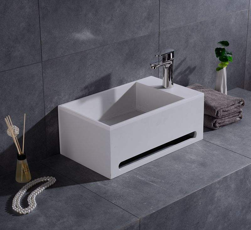 Modern Artificial stone bathroom hand wash sink wall hung basin with towel holder for home use or project