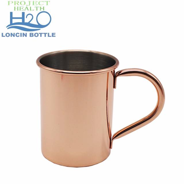 BPA-FREE Copper plated stainless steel mule mug with handle, single wall Moscow mule cup