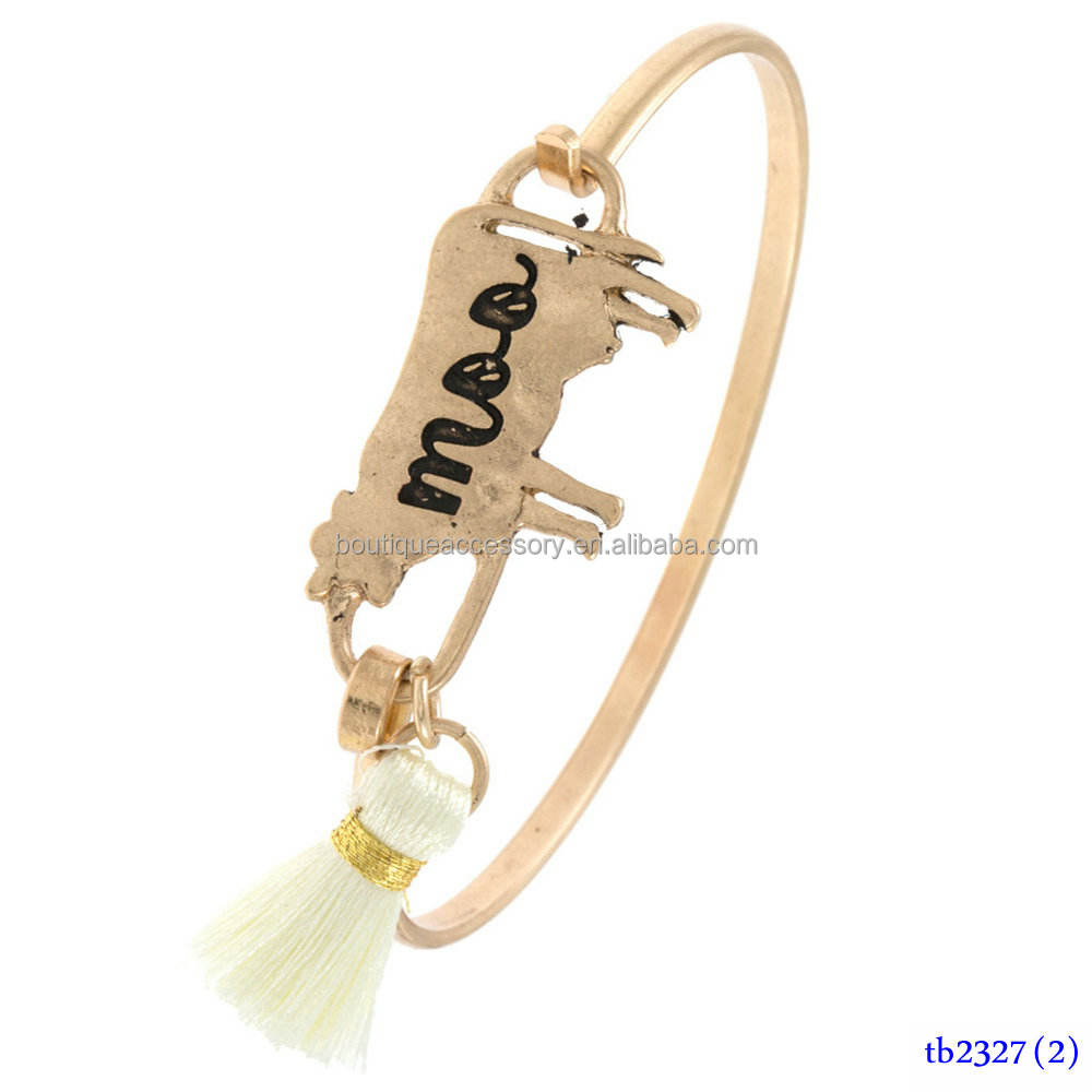 MOO ETCHED COW TASSEL LINK BANGLE BRACELET