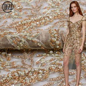 Hot selling wedding hand embroidered gold full beaded lace tulle fabric with sequin
