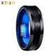 8mm Two Tone Tungsten Rings Wedding Bands Black and Blue Ring with Black Carbon Fiber