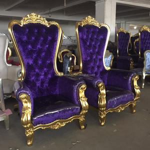 HB15 purple king throne chair with plastic cover