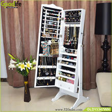 Wooden jewelry cabinet with mirror for bedroom closet dressing and storage