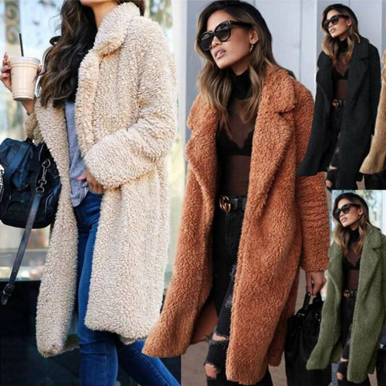 Wholesale Latest New Fashion Design Women Wool Casual Winter Faux Fur Coat