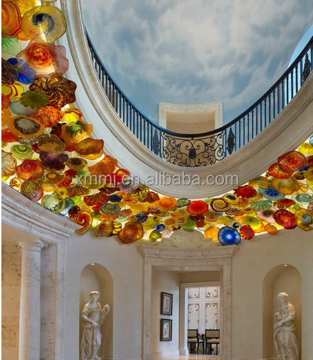 Modern murano style art glass plates ceiling chandelier hand blown glass