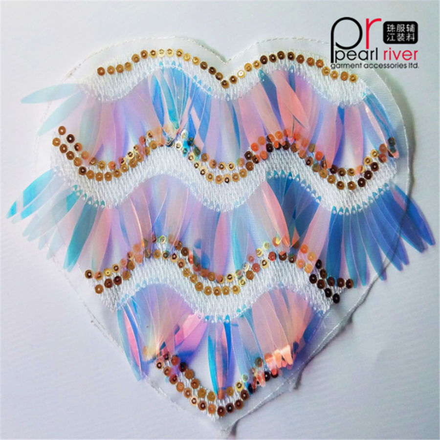 lovely colorful handmade heart shape sequin patches for children clothes