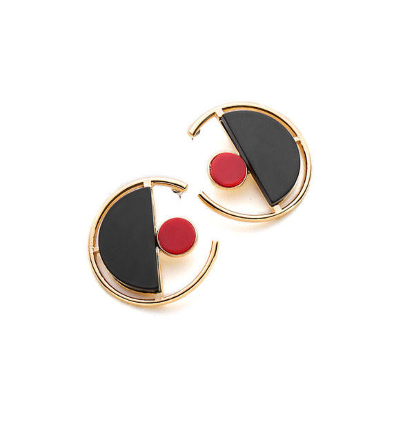Zooying resin contrast black and red geometric cute dangle earrings wholesale jewelry
