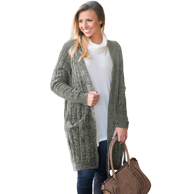 Trade Assurance Women Ladies Clothing Winter Outerwear Coats Sweater Velvet Chenille Knitted Style Long Cardigan