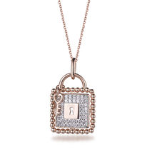 New Developed Square Lock  925 Sterling Silver Key Pendant