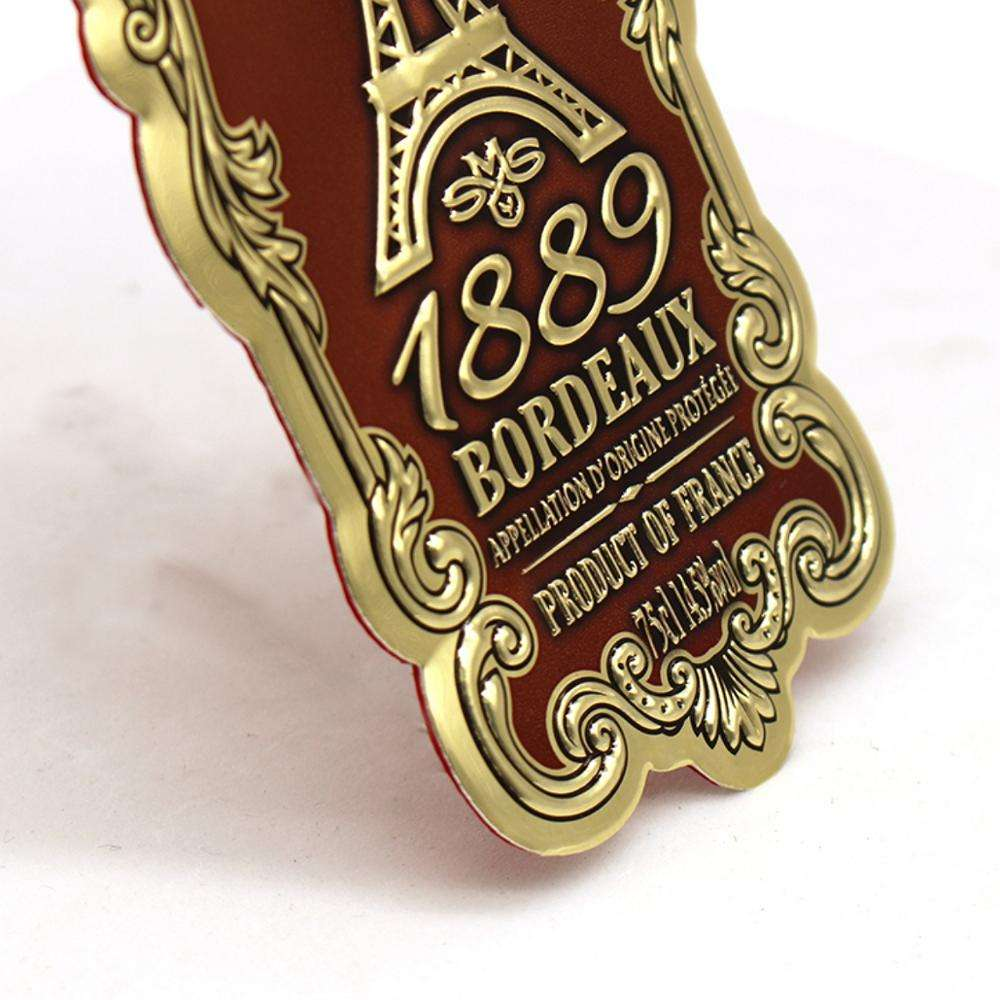 Metal Custom Made Metal Embossed Wine Bottle Label Badge