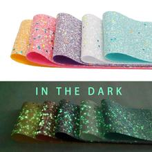 Popular Fashion Glow In The Dark Glitter Ribbon Vinyl Leather For Bows