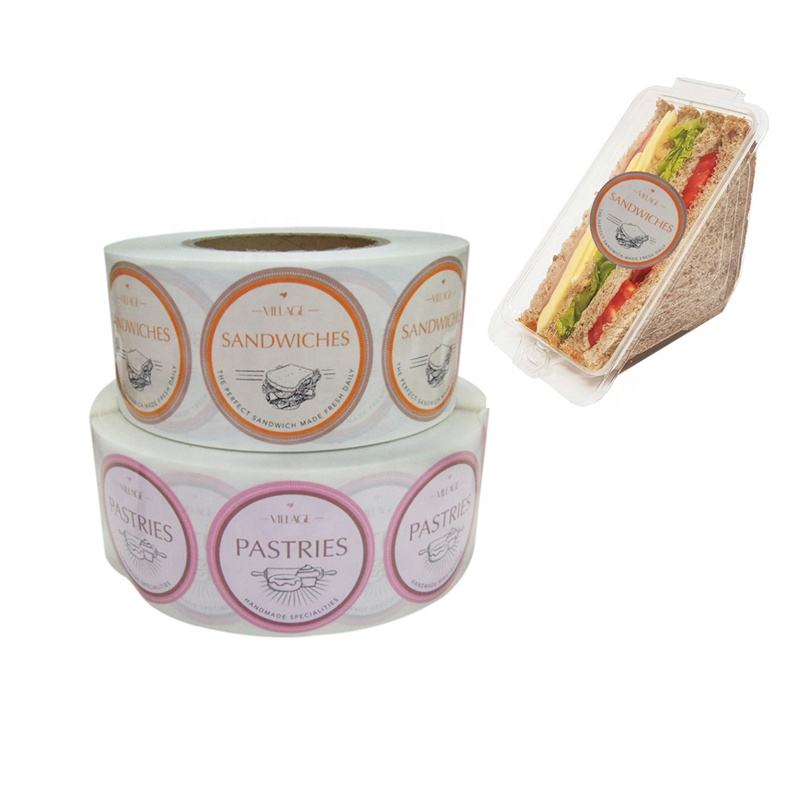 Made in China Custom Printing Sandwich Roll Stickers Labels for Food Packaging