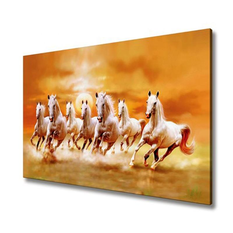 Digital Print Handmade 7 Running Horses At Sunset HD Picture Wall Painting On Canvas Art