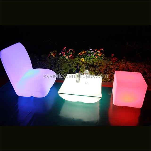 SX-6070-SF led rgbw照明ベンチ/led照明家具/プラスチック家具