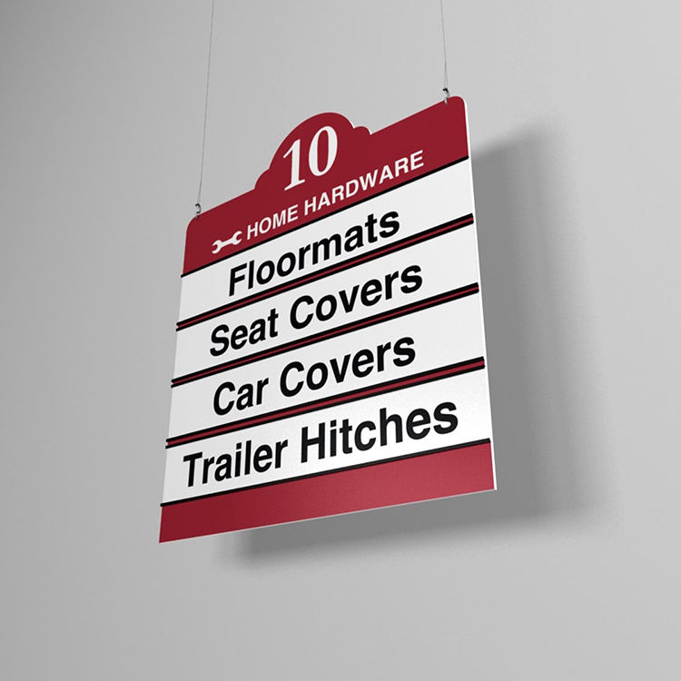 Promotional retail supermarket hanging sign board for aisle foam board material