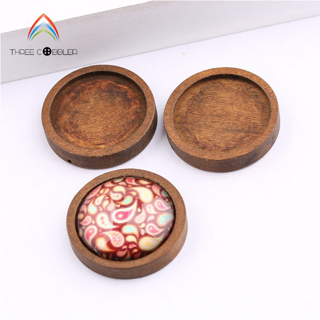 Y0087 Wholesale Round Coffee Color Pendant Tray Wood Base Cabochon Setting