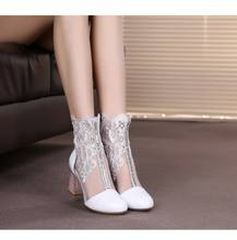 zm60535a New style small size women's shoes 32 33 yards genuine leather middle heel hollow lace ankle women spring net boots