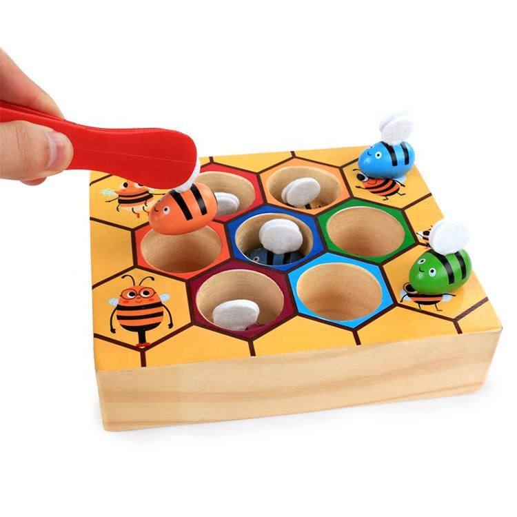 Clamp Fun Picking Catching Toy Hive Board Games Montessori Board Game Wood Bee Toy