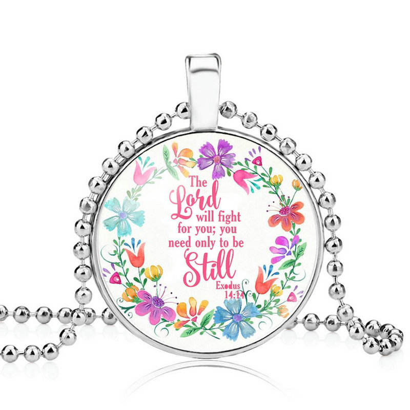 wholesale silver Bible Verse Flower Charm Glass Faith Jewelry Women Men Christian Faith Gifts pendant necklace