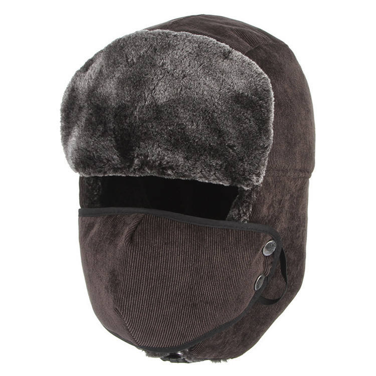 New Arrival Winter Furry Thicken Warm Ski Earflap Russian Custom Men's Trapper Hat