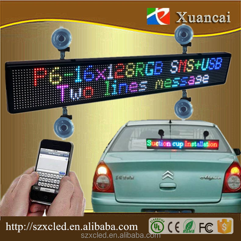 Factory full color P6-16X128RGB Car back windshield Suction cups LED taxi display