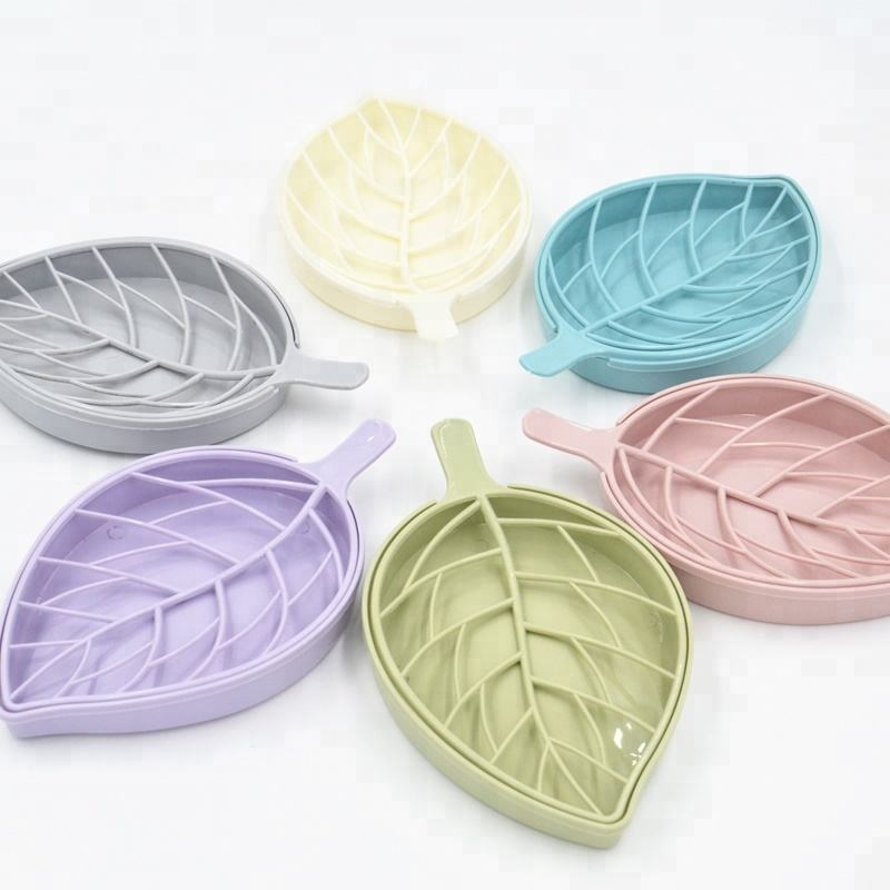 Hot selling easy cleaning travel plastic leaf shape bathroom plastic soap box